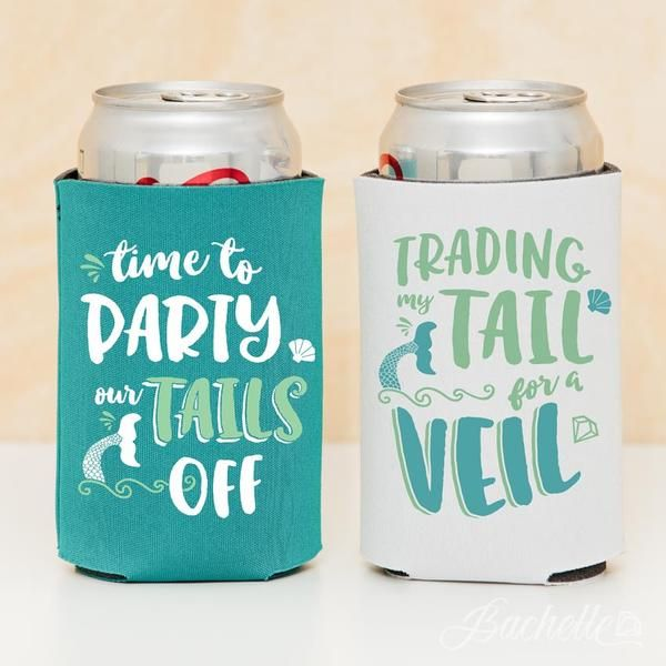 Mermaid Bachelorette Party Koozies Trading My Tail For A Veil