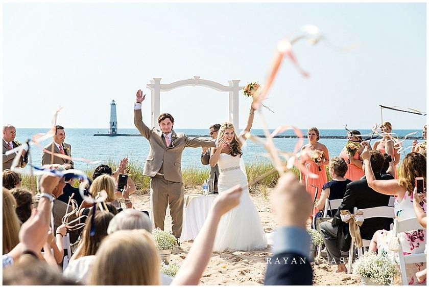 Elberta Life Saving Station Wedding Michigan Beach Wedding