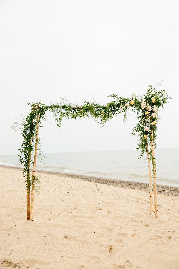 Whimsical Michigan Beach Wedding Wedding Ceremony Backdrop