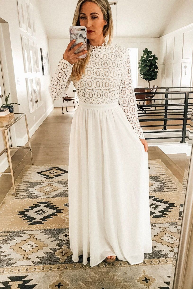 Long Sleeve White Maxi Dress Perfect Temple Dress Or Bridal