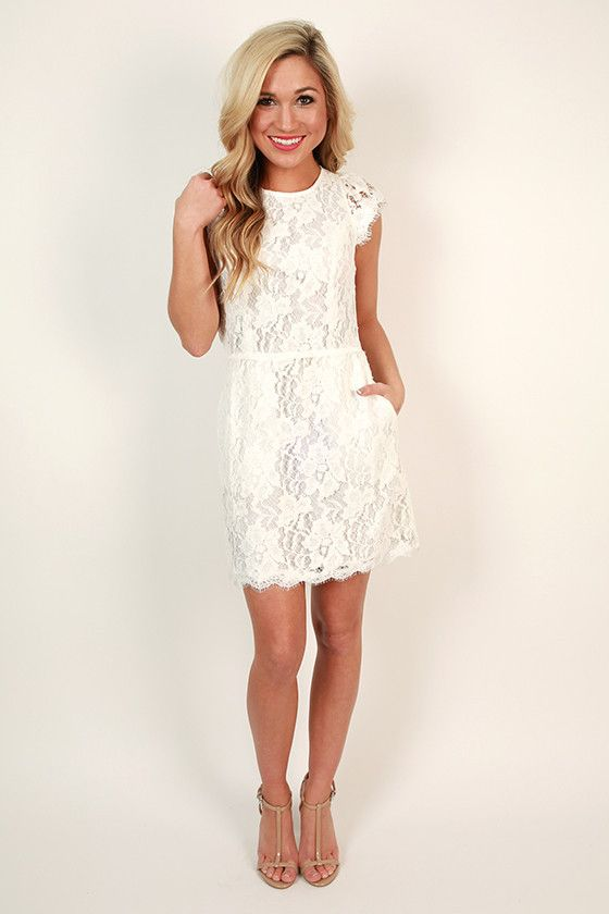 Queen S Lace Mini Dress In White White Bridal Shower Dress