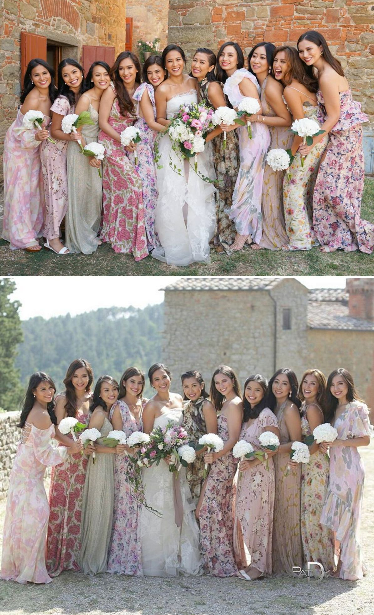 Bridesmaids In Floral Maxi Dresses Filipino Actress Isabelle