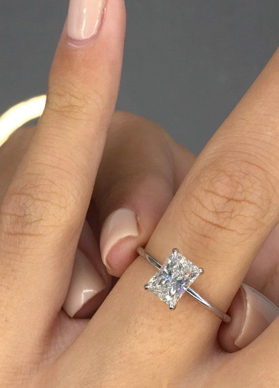 1 Carat Diamond Engagement Ring Solitaire Radiant Diamond Etsy