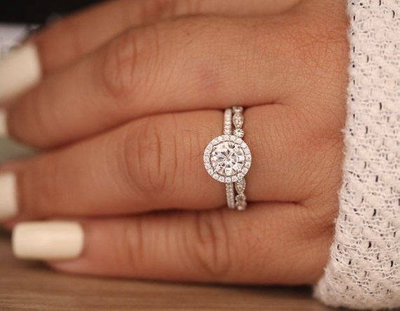 14k White Gold Round 6 5mm Moissanite Engagement Ring And Diamond
