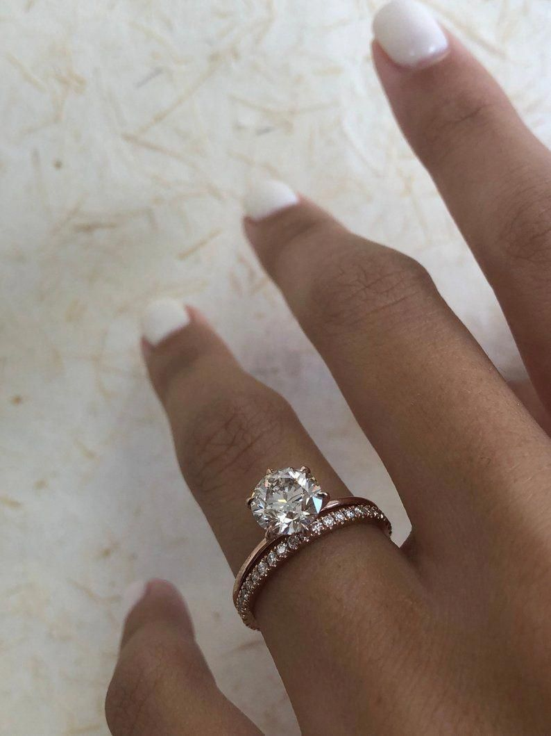 1ctw Charles Colvard Moissanite Engagement Ring 14k White Gold