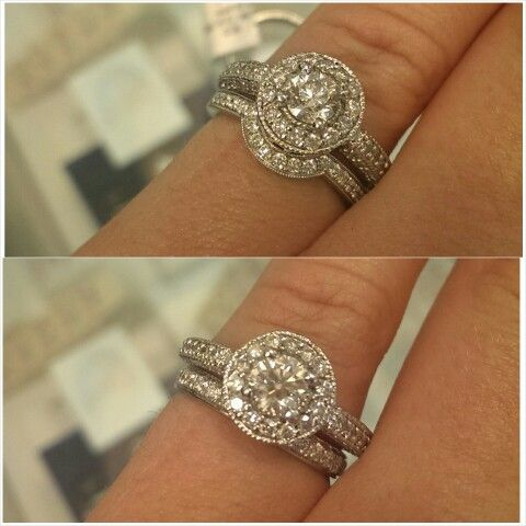 My Halo Engagement Ring With Curved Wedding Band Vs Straight