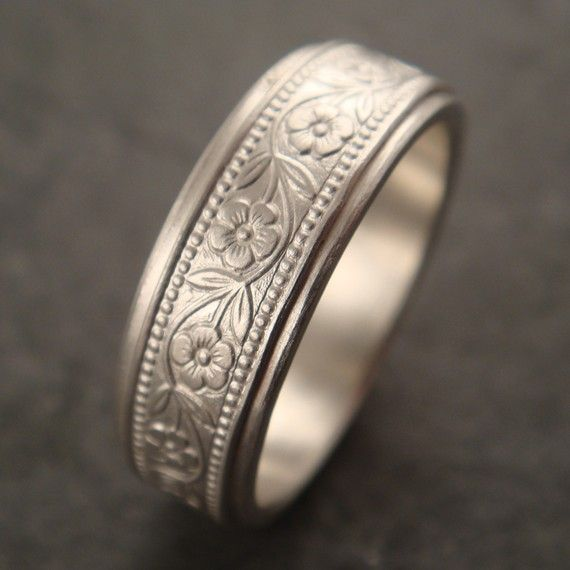 Womens Wedding Band Mens Wedding Ring Floral Wedding Band White