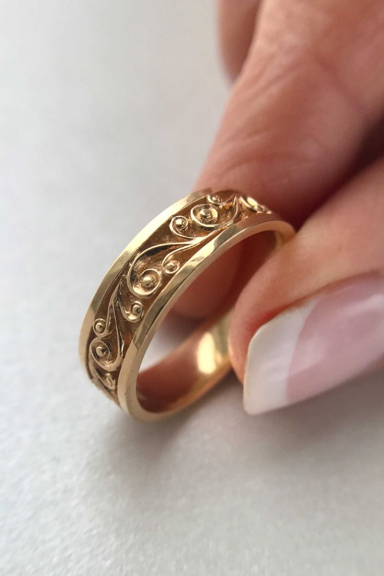 Rose Gold Wedding Band Women Unique Wedding Ring Floral Wedding