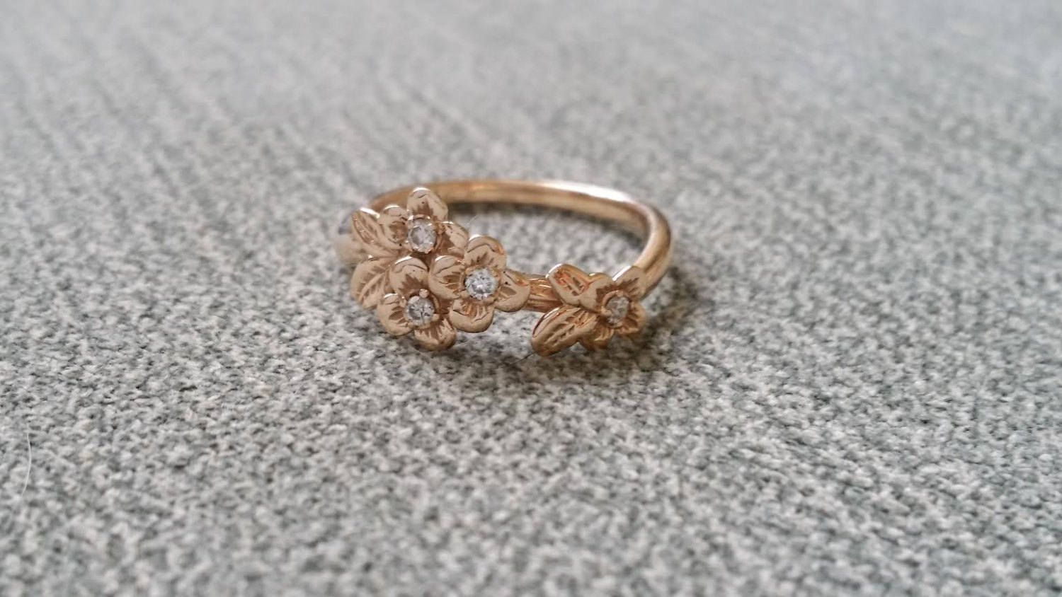 Diamond And Gold Flower Engagement Ring Delicate Floral Wedding