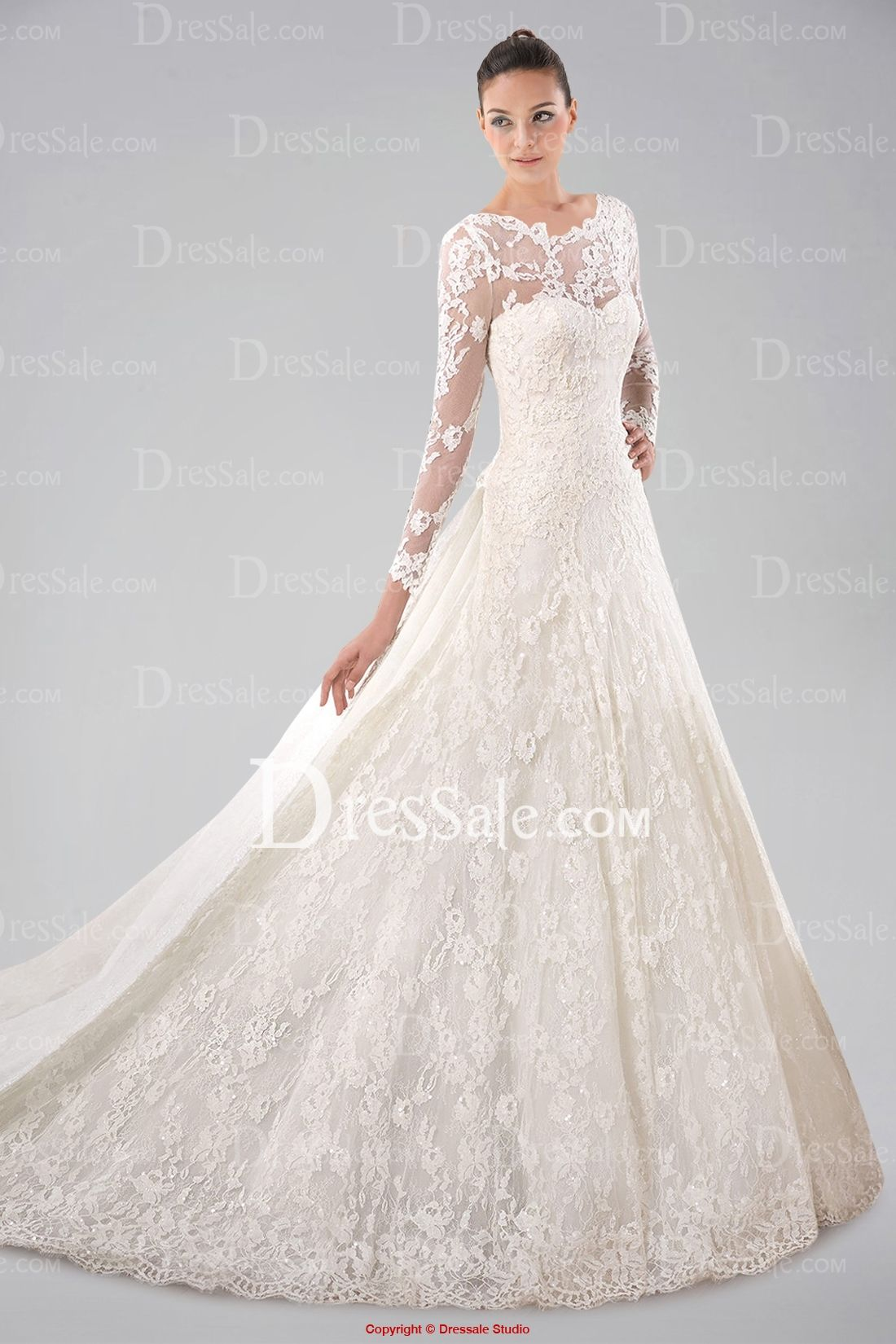 Pretty Long Sleeve Wedding Gown With Lace Overlay And Watteau