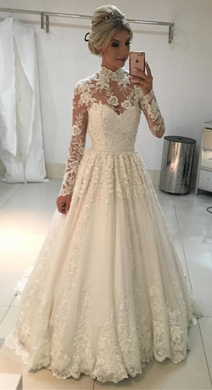 Vintage A Line High Neck Long Sleeves Lace Wedding Dresses Floor