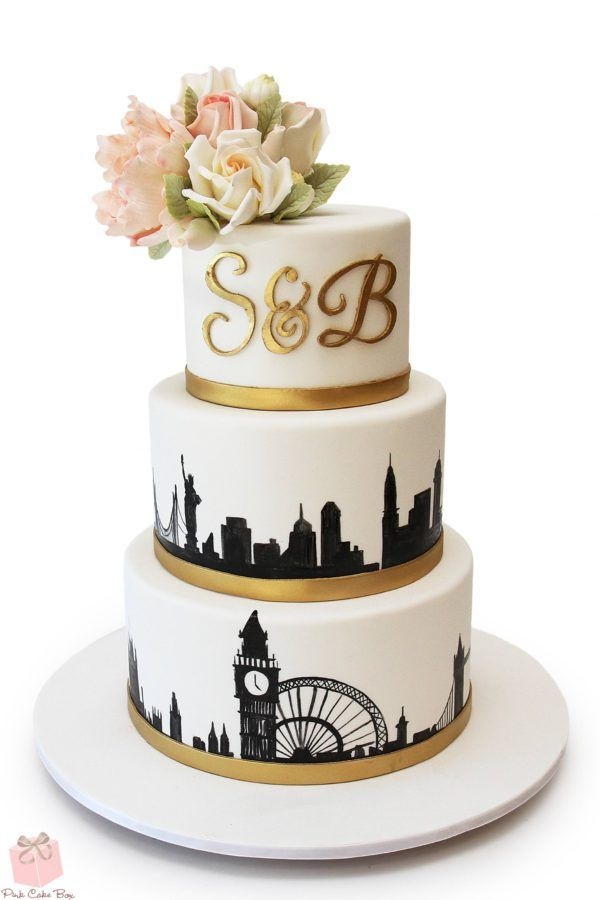 London Nyc Skyline Wedding Cake Wedding Cakes Wedding Cake Nyc Wedding Cakes Travel Wedding Cake