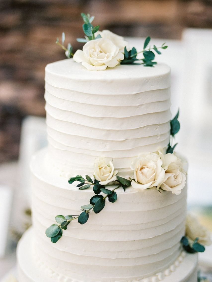 Cake Flowers Simple Organic White And Green Green Wedding