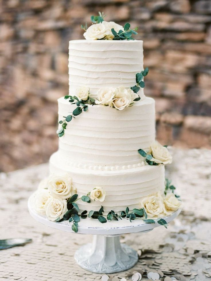 Wedding Cake Simple White And Green Natural Weddingcakes