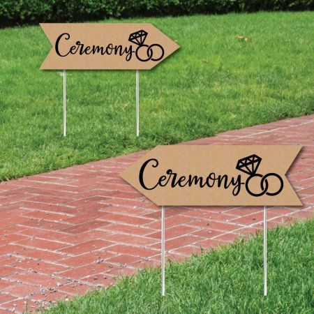 Rustic Wedding Ceremony Signs Wedding Sign Arrow Double Sided