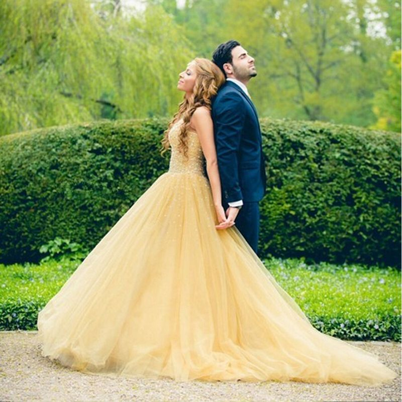 Amazing Yellow Wedding Dress Handmade Beaded Bridal Gown 2016 A