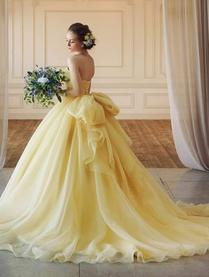 Yellow Ball Gown Dress Yellow Wedding Dress Colored Wedding