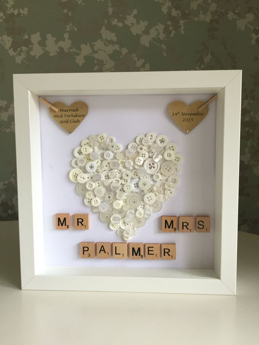 Wedding Gift Personalised Button Art Handmade Wedding Gifts
