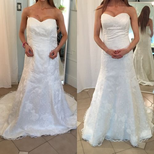 Before And After On Fully Resized Sample Wedding Gown Wedding