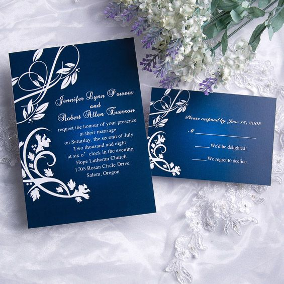 Cheap Classic Blue Damask Wedding Invitations With Response Cards
