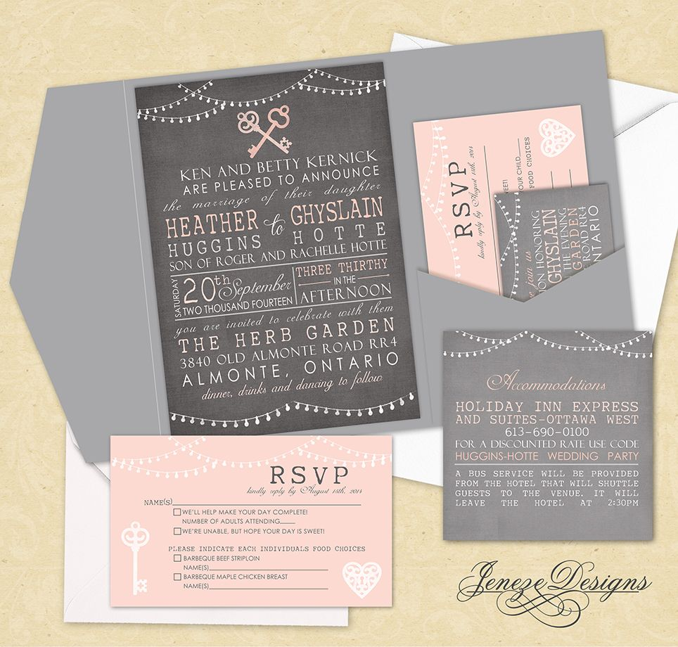 Vintage Wedding Invitation Tri Fold Pocket Set With Vintage Keys