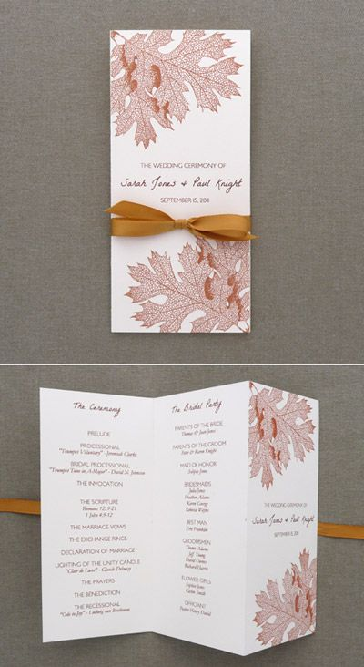 Program Template Tri Fold Fall Leaves Diy Wedding Programs