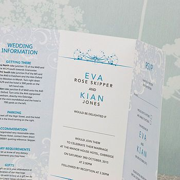 Smile Three Fold Wedding Invitation Folded Wedding Invitation