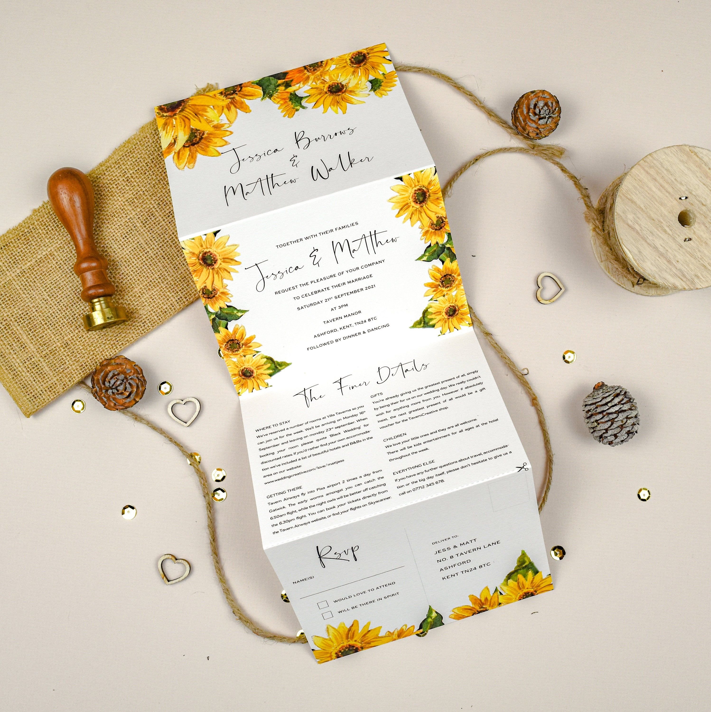 Tri Fold Invitation Sunflower Wedding Invitation Wedding Invites