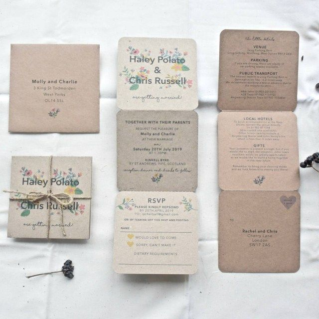 20 Trifold Wedding Invitations Folded Wedding Invitation Tri