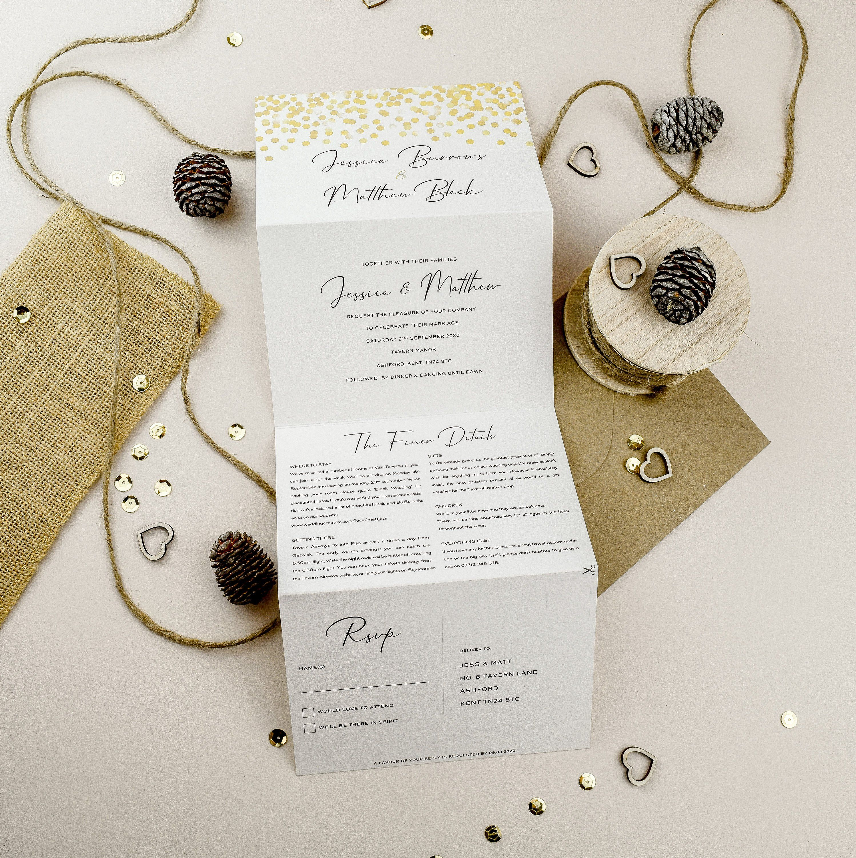Concertina Wedding Invite Gold Wedding Invitation Tri Fold