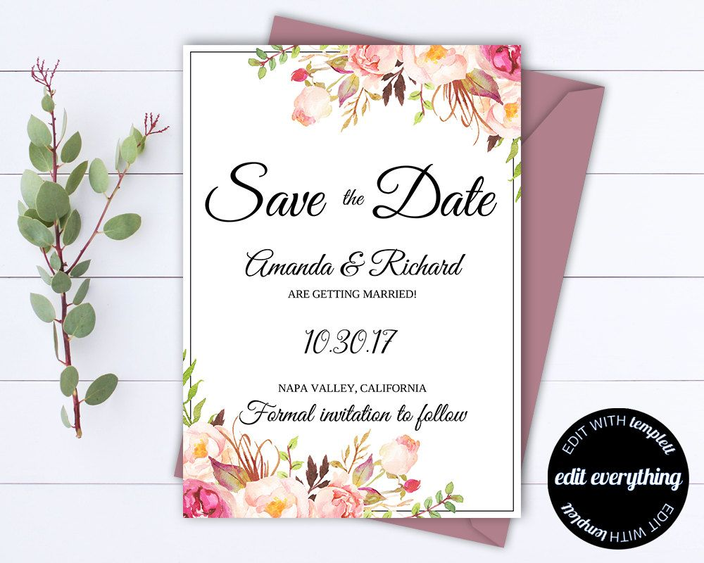 Pink Floral Save The Date Wedding Template Pink Floral Save The