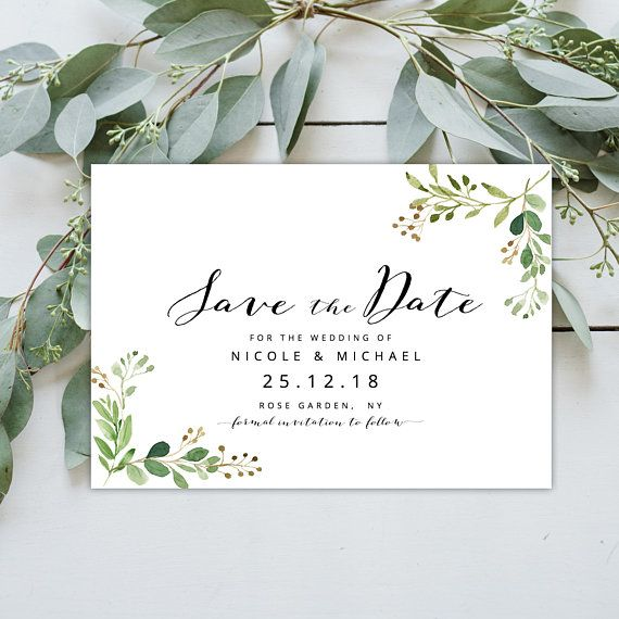 Greenery Save The Date Wedding Invitation Eucalyptus Twigs