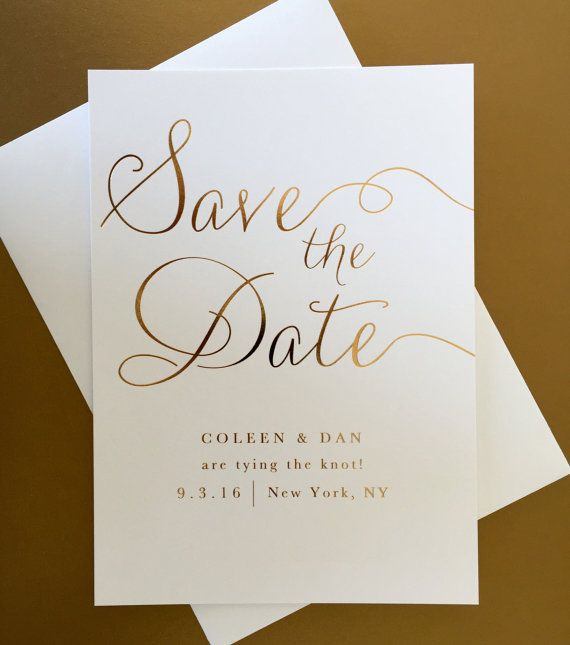 Gold Foil Wedding Save The Date Modern Elegant Classic En