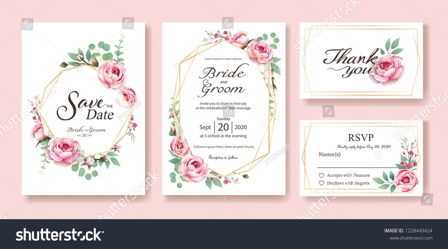 Floral Wedding Invitation Save The Date Thank You Rsvp Card