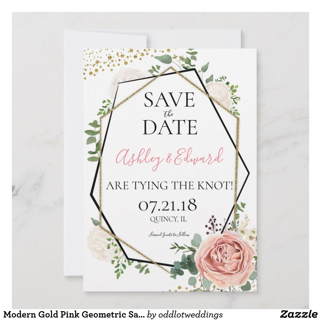 Modern Gold Pink Geometric Save The Date Zazzle Com Pastel