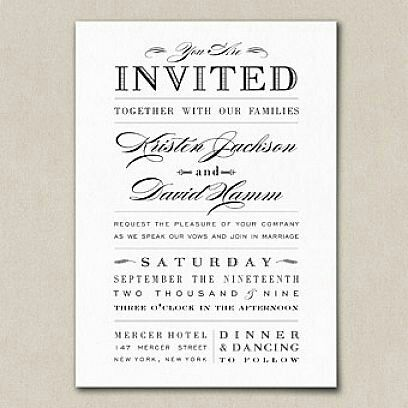 Dinner And Dance Wedding Invitations Examples Wedding