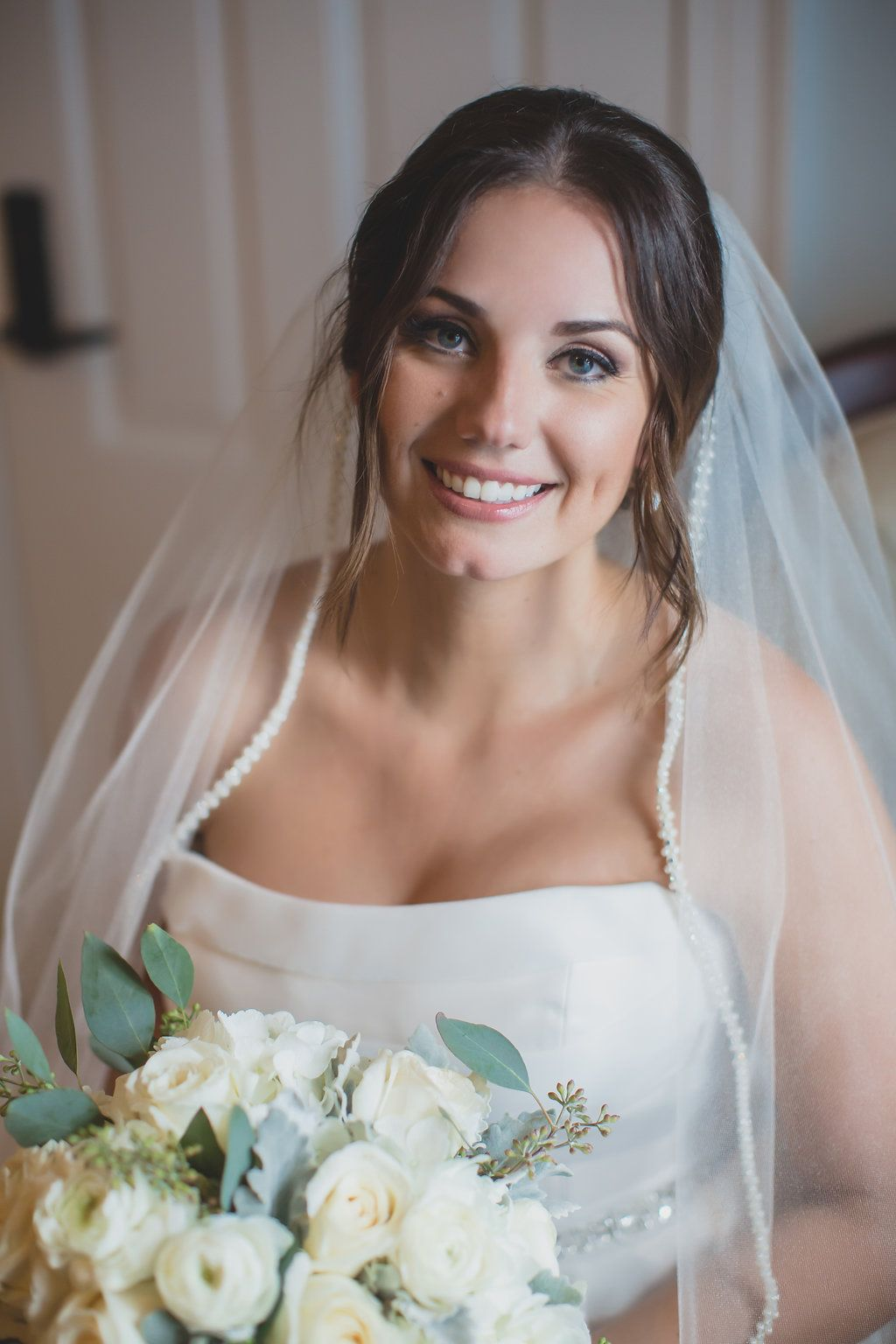 Silver And Navy Lakefront Wedding Bride Wedding Hair And Makeup