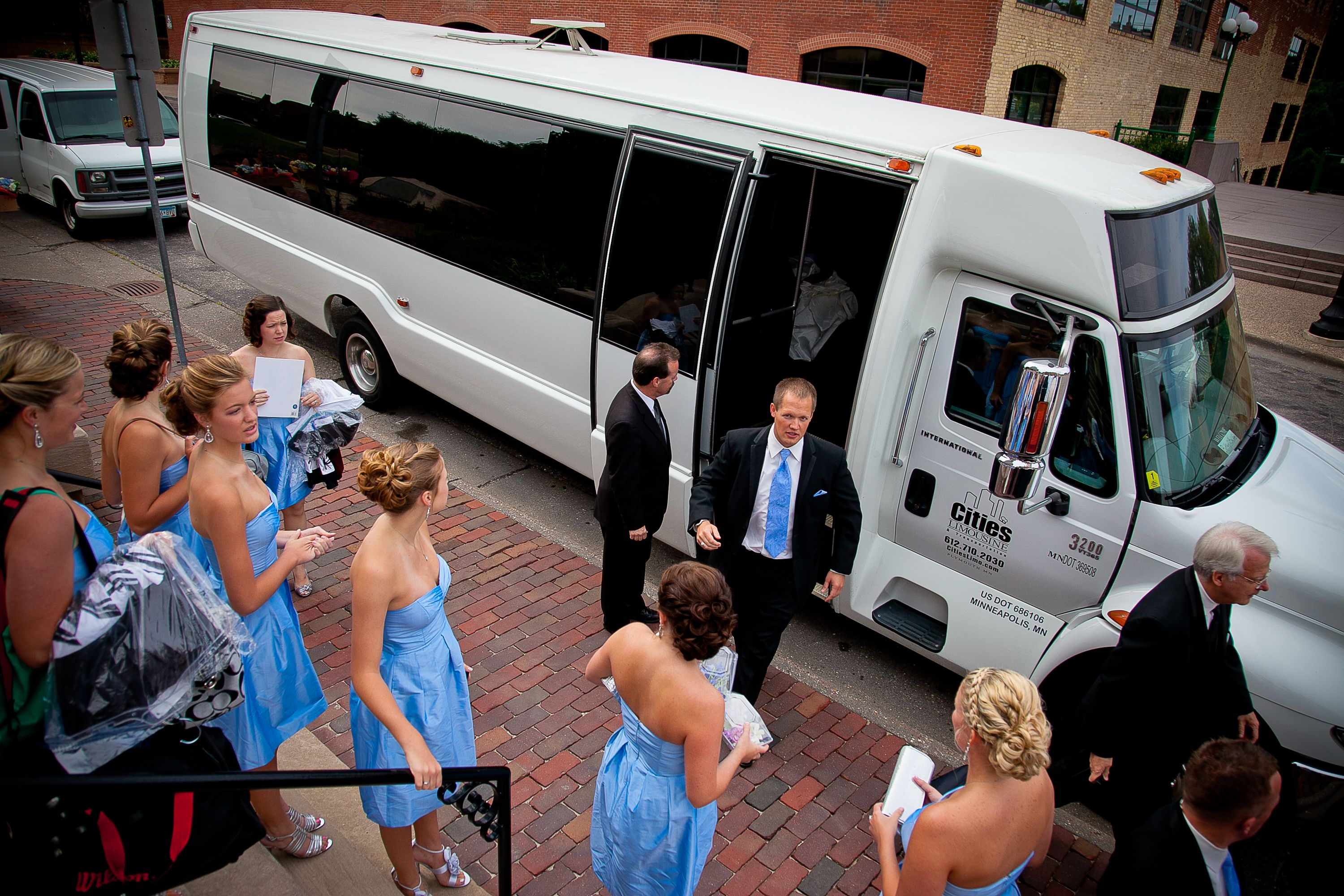 For A Wedding Party As Big As Ours A Limo Bus Was A Necessity Wedding Transportation Limo Bus Wedding Limo