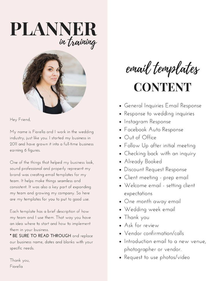 Email Templates For Wedding Planners Venues And Wedding