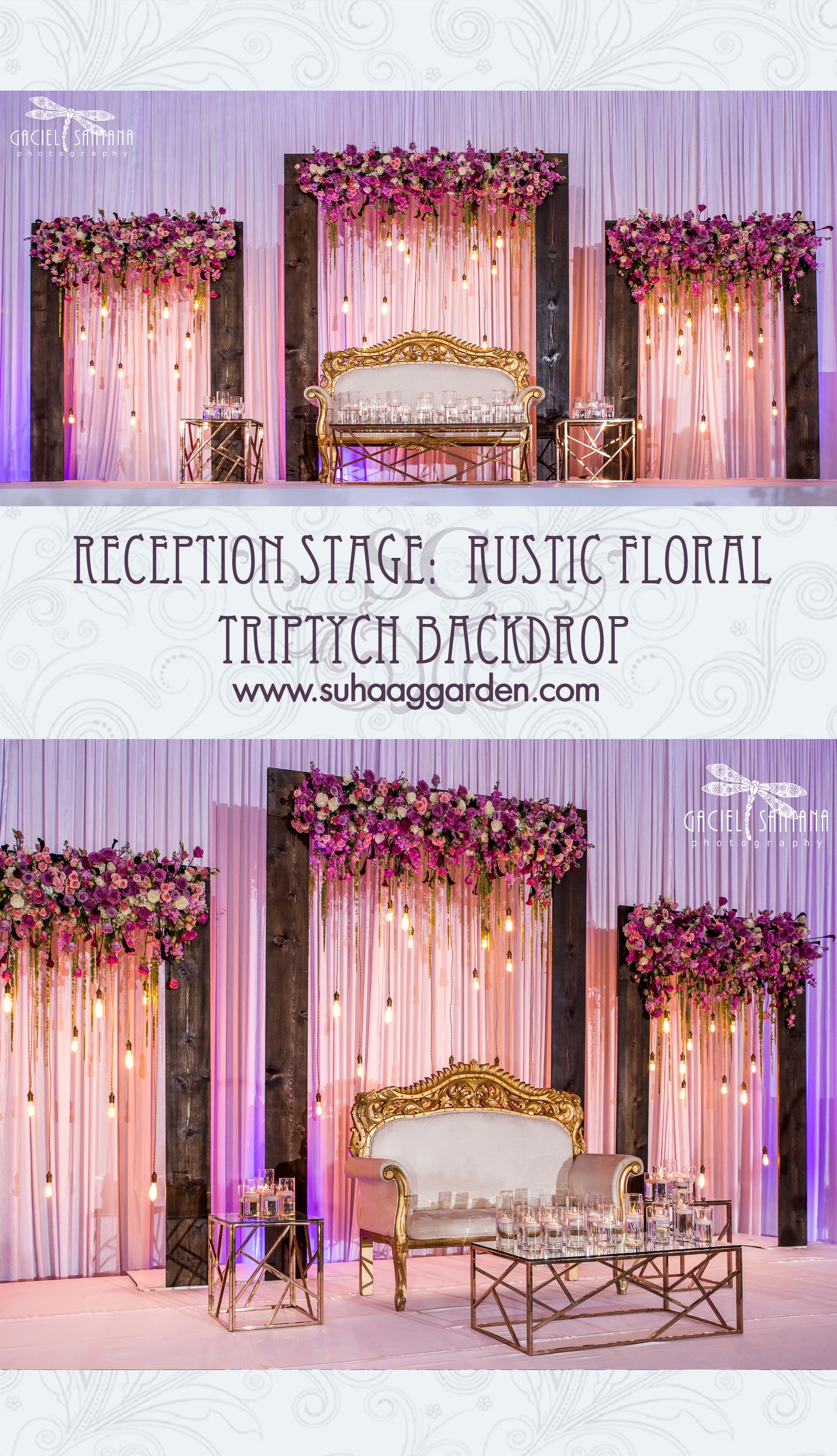 Reception Stage Rustic Floral Triptych Backdrop