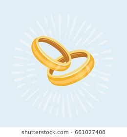 Vector Cartoon Illustration Of Two Gold Wedding Rings Isolated