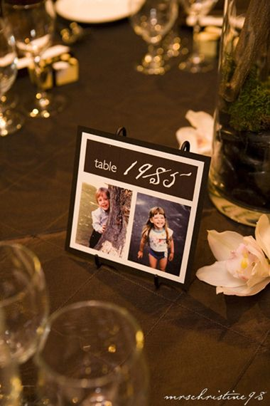 Table Numbers Being Years With Pictures Of Couple When Kids Won T Work For Me But Love The Idea Wedding Table Numbers Wedding Table Fun Wedding