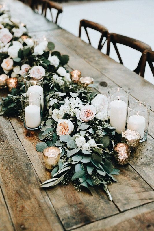 Rustic Wedding Table Runner Idea Love How These Candles Add A Bit