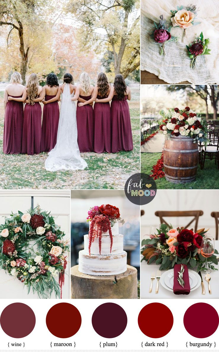 Burgundy Wedding Theme Autumn Wedding Shades Of Burgundy Maroon Plum Wine Burgundy Wedding Theme Wedding Colors Burgundy Wedding