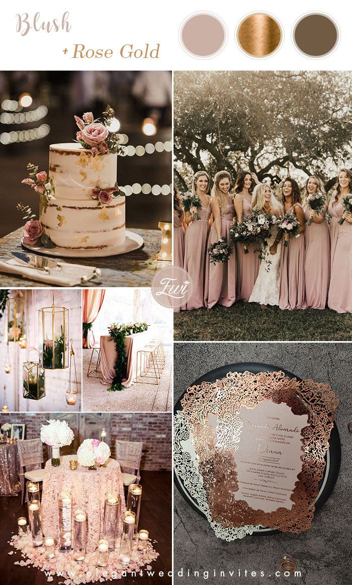 6 Stunning Metallic Wedding Color Palettes With Matching Invitations In 2020 Gold Wedding Colors Metallic Wedding Colors Wedding Rose Gold Theme