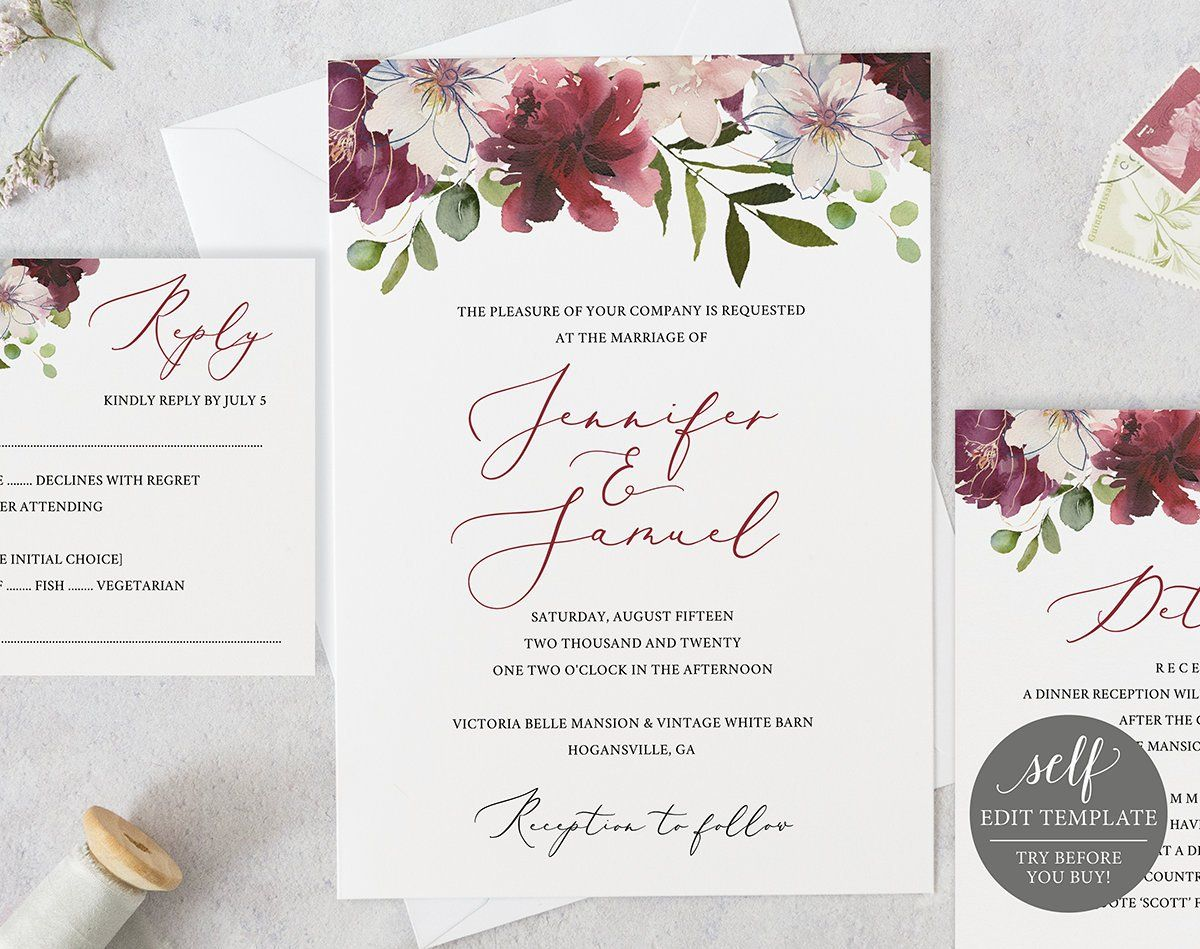 Wedding Invitation Template Instant Download 100 Editable