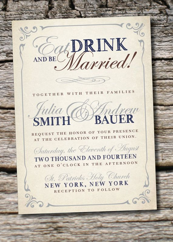 Eat Drink Be Married Poster Style Wedding Invitation Response